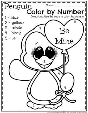 Preschool Valentine Worksheets - Color by Number. #preschool #valentines #worksheets