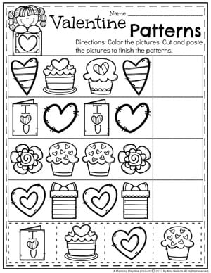 Preschool Valentine Worksheets - Patterns. #valentines #preschool #worksheets