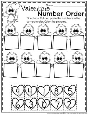 Preschool Valentine's Worksheets - Number Order  #valentines #preschoolworksheets #preschool #worksheets
