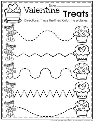 Preschool Worksheets for Valentine's Day - Fun Tracing Worksheets #valentinesday #preschool #preschoolworksheets