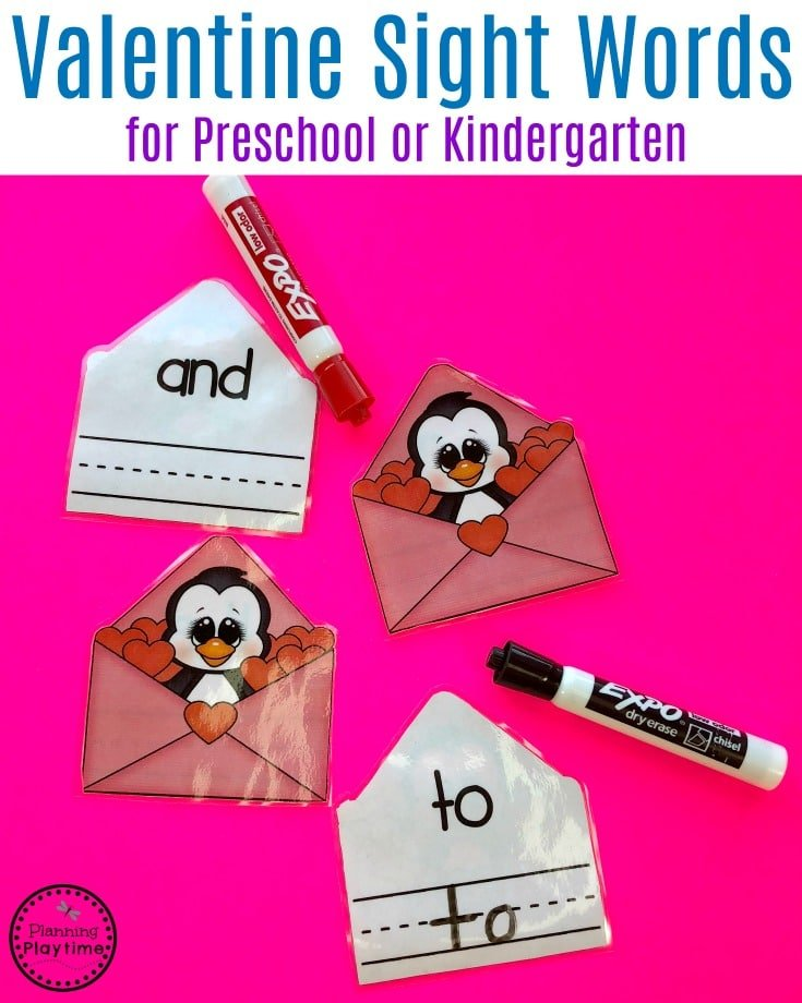 Preschool or Kindergarten Sight Words Practice for Valentine's Day. #sightwords #valentinesday #preschool