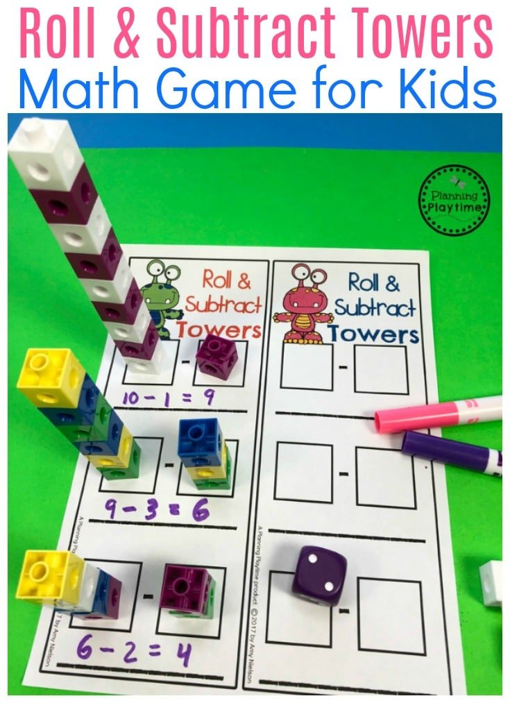 Roll And Subtract Block Towers Fun Subtraction For Kids on worksheets fishing out