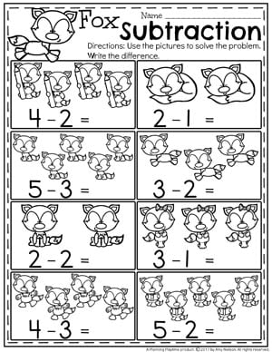 Subtraction Under 5 Worksheets for Kindergarten.