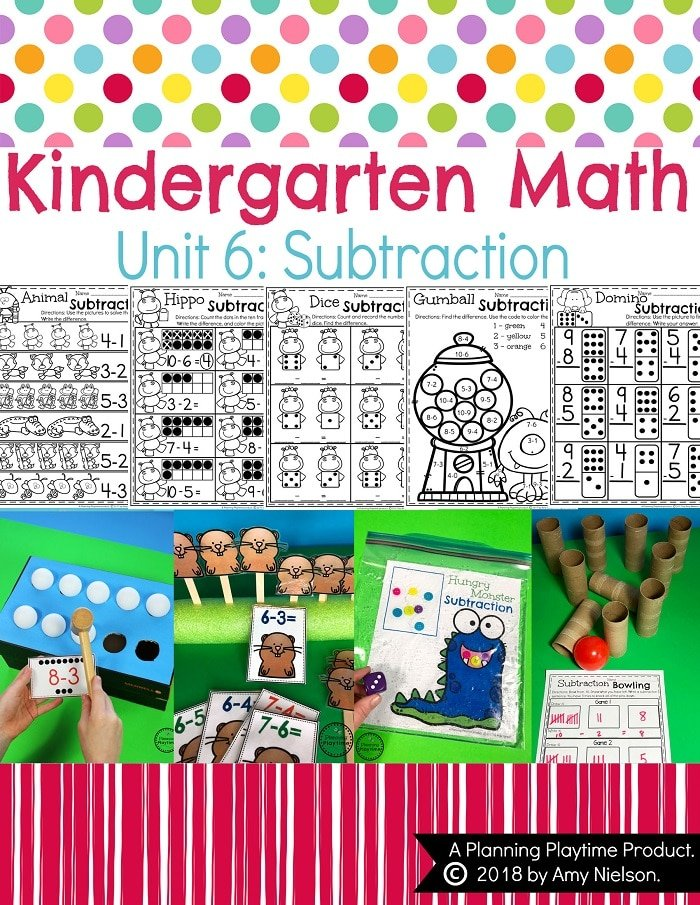 Kindergarten Math Subtraction Worksheets and Centers