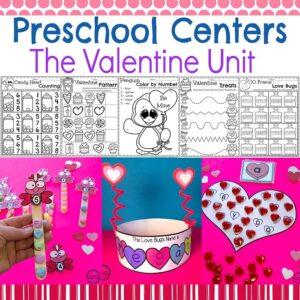 Valentines Worksheets and Centers for Preschool or Kindergarten