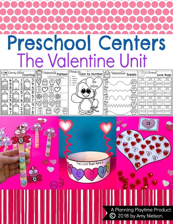 Valentines Worksheets and Centers for Preschool or Kindergarten