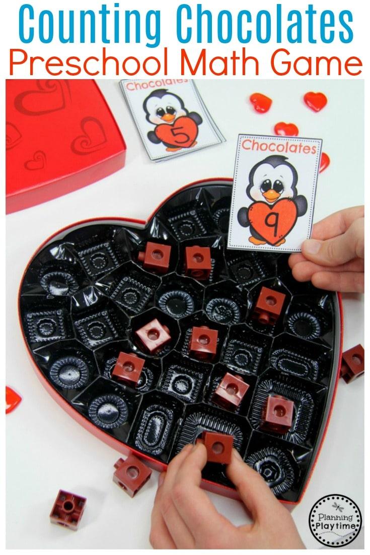 Valentine Counting Activity for Kids. So Fun! #valentines #preschool #preschoolworksheets
