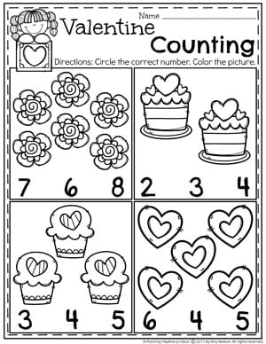 Valentine's Worksheets - Planning Playtime
