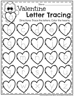 Valentine Letter Tracing Worksheets for Preschool #tracing #preschoolworksheets #valentinesday