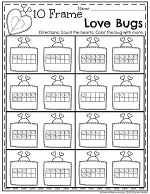 Valentine Worksheets for Preschool - 10 Frame Love Bug Counting #counting #preschoolworksheets #valentinesday #preschool