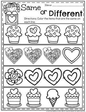 Valentine's Worksheets for Preschool - Same or Different. #valentines #preschoolworksheets #preschool #worksheets