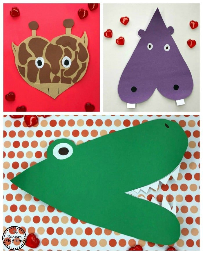Zoo Heart Animals - Valentines Crafts for Preschool #valentinesday #valentinescrafts #craftsforkids #preschoolcrafts #animalcrafts