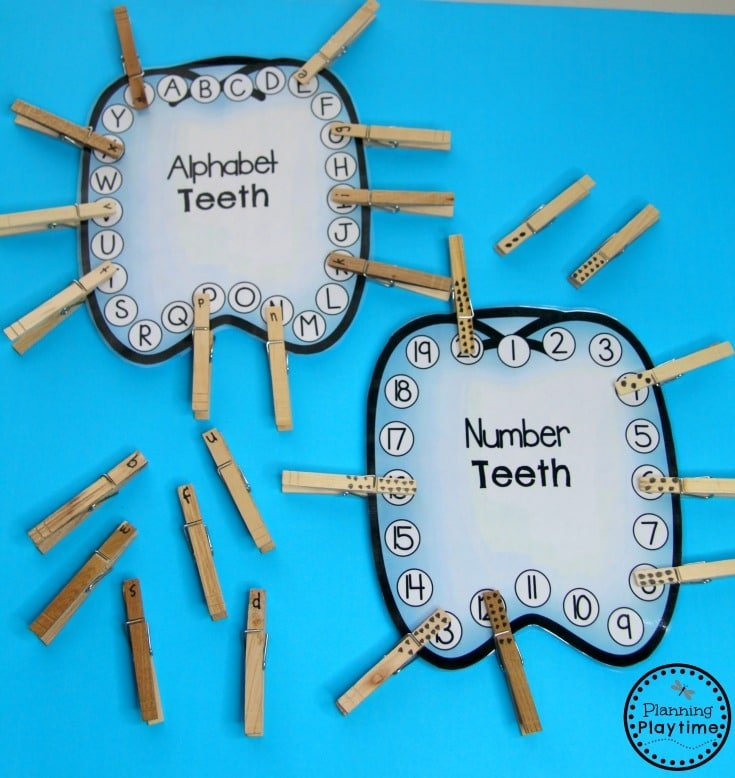 Dental Health Month - Letter Matching and Counting Activities