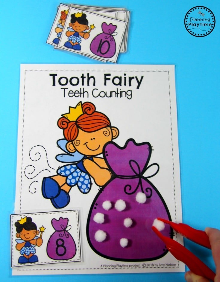Dental Health Theme - Tooth Fairy Teeth Counting Game #dentalhealth #preschool #preschoolworksheets #preschoolcenters
