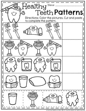 Dental Health Worksheets for Preschool - Tooth Brushing Patterns