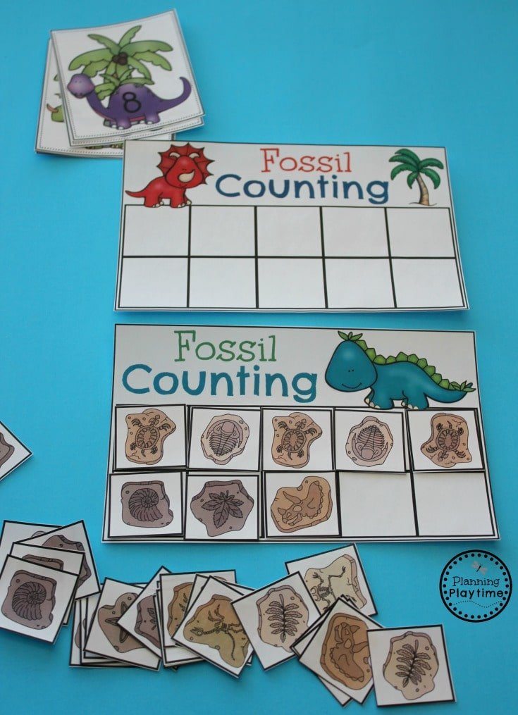 Dinosaur Fossil Counting Activity for Preschool or Kindergarten. #preschool #dinosaurtheme #dinosaur #preschoolactivities