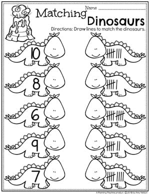 Dinosaur Number Matching Worksheets for Preschool. So Fun! #dinosaurworksheets #preschoolworksheets #preschool #dinosaurs