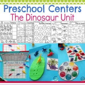Dinosaur Preschool Theme Worksheets and Centers