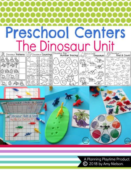 Dinosaur Preschool Theme Worksheets and Centers