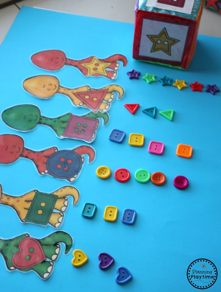 Dinosaur Shapes Sorting Activity for Preschool
