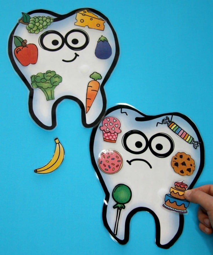 Healthy Teeth Food Sort - Dental Health Activity for Kids. #preschool #dentalhealth #preschoolworksheets