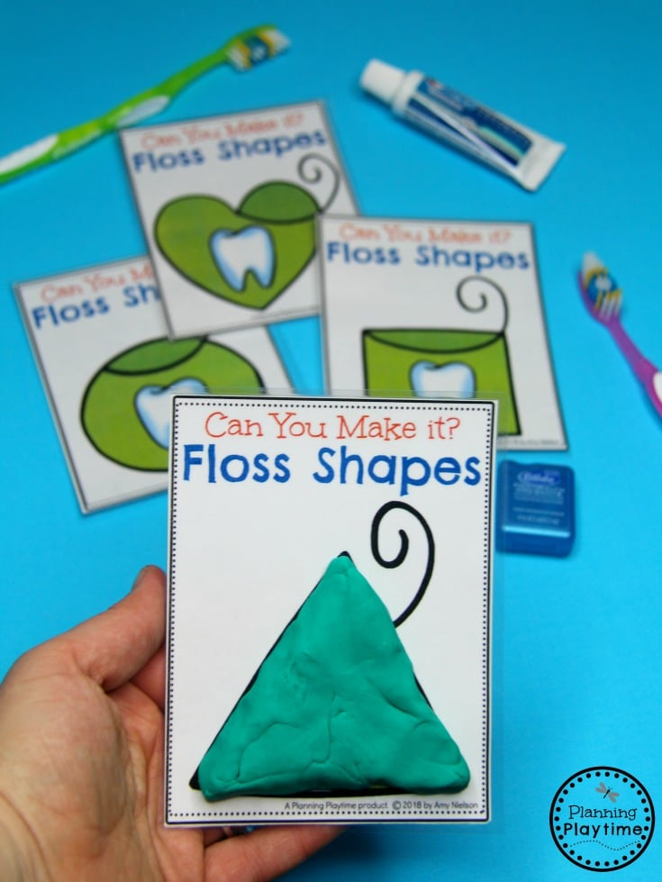 Preschool Dental Health Activities - Floss Shapes with playdough. #dentalhealth #preschool #preschoolworksheets #preschoolcenters
