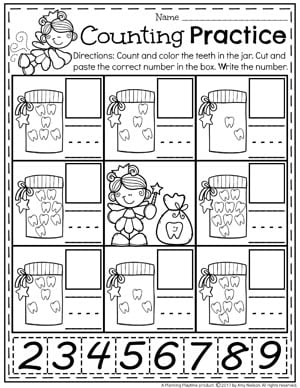 Preschool Dental Health Unit - Teeth Counting Worksheets
