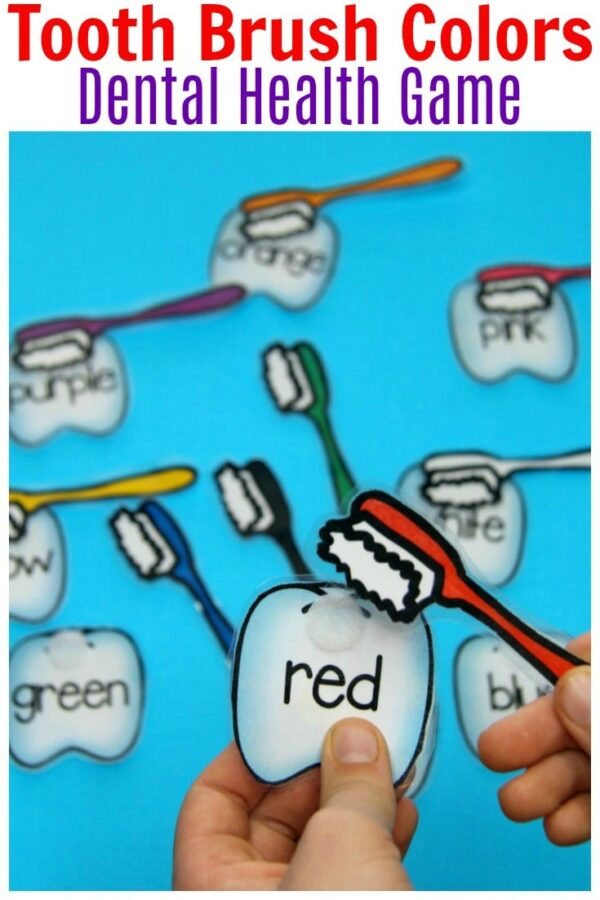 Preschool Dental Health Unit - Tooth Brush Colors. #dentalhealth #preschool #preschoolworksheets #preschoolcenters