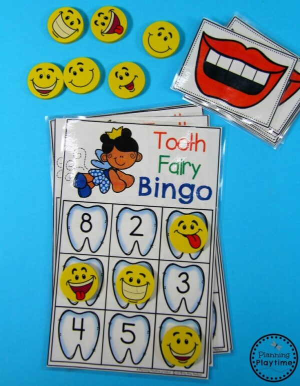 Preschool Dental Health Unit - Tooth Fairy Bingo Counting Game #dentalhealth #preschool #preschoolworksheets #preschoolcenters