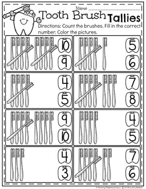 Preschool Dental Health Worksheets - Tooth Brush Tally Counting