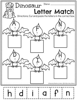 Preschool Dinosaur Worksheets - Letter Matching Cut and Paste #letterworksheets #dinosaurworksheets #preschoolworksheets #preschool #dinosaurs