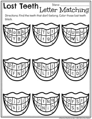 Preschool Letter Matching Worksheets - Color the Lost Teeth