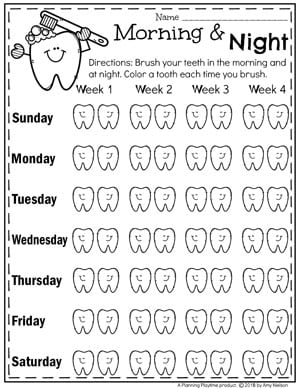 Teeth Brushing Chart for Kids - Dental Health Month