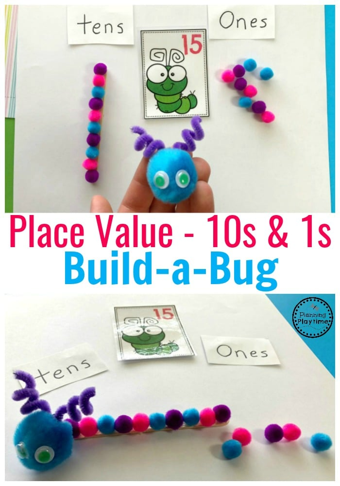 Build a Bug Place Value Activity for Kindergarten - Tens and Ones #placevalue #kindergartenmath #mathgames #kindergartenworksheets #placevaluegames