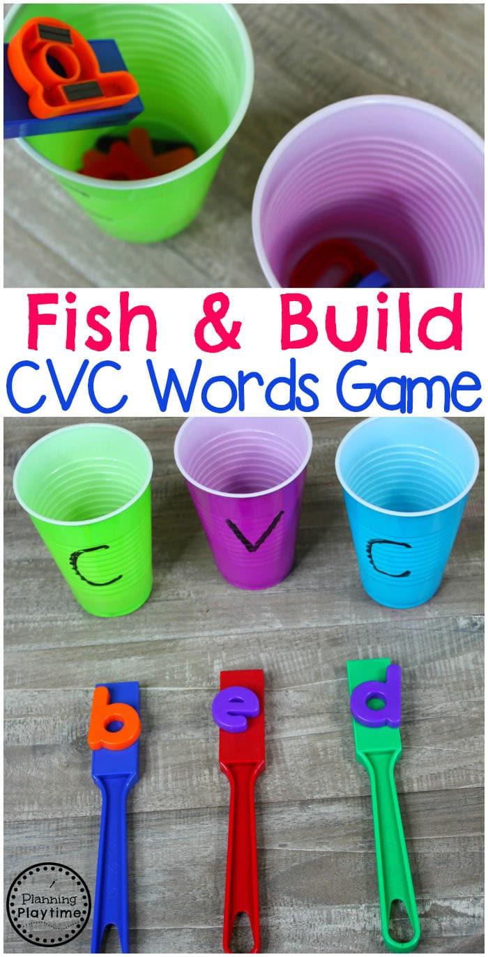 CVC Words Game for Kindergarten and Preschool #preschool #kindergarten #cvcwords #wordbuilding #literacygames #readinggames