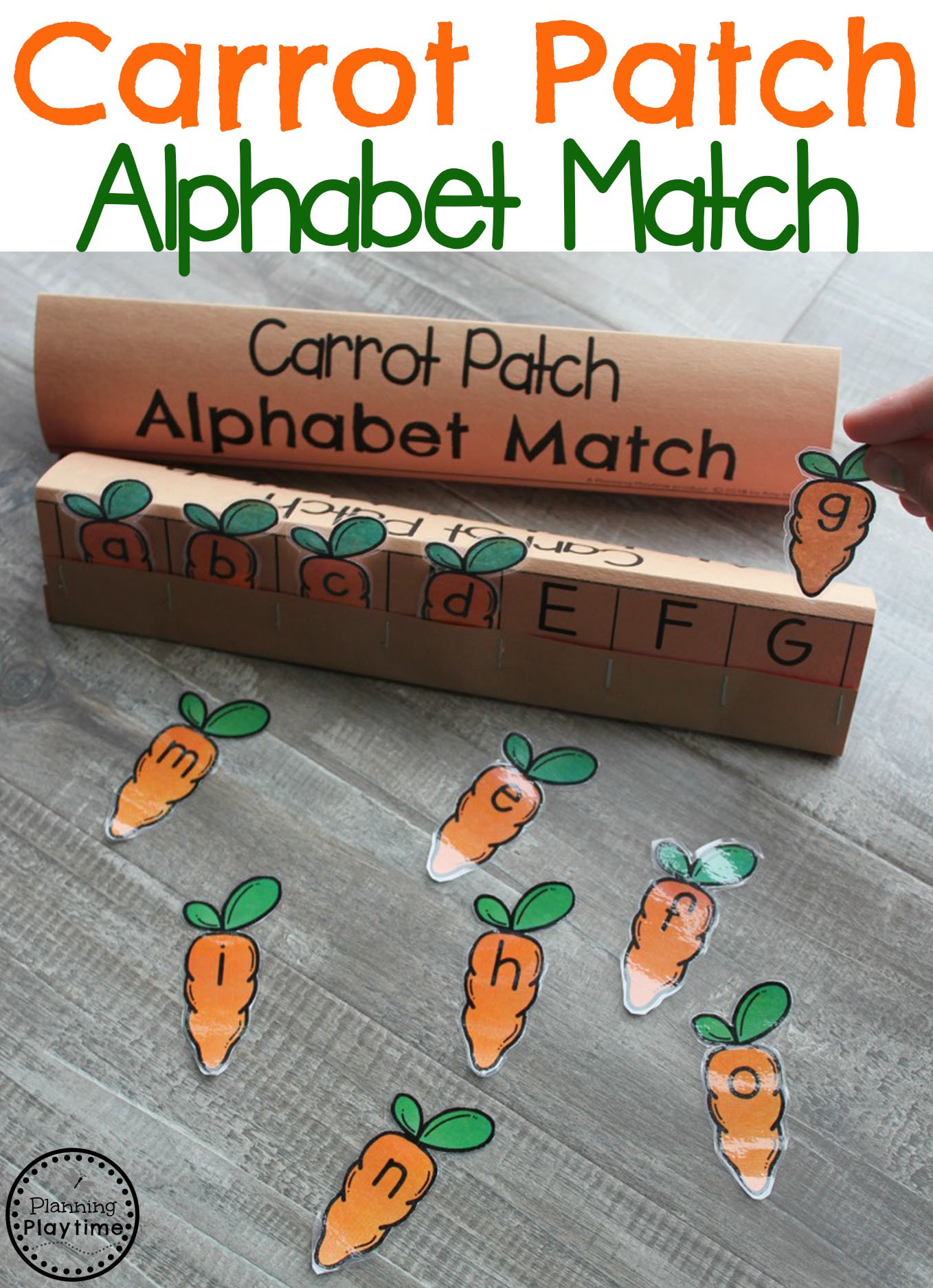 Easter Activities for Preschool - Carrot Patch Alphabet Match letter Recognition Game. #easter #preschool #easteractivities #easterpreschool #planningplaytime #alphabet #lettermatching #preschoolworksheets