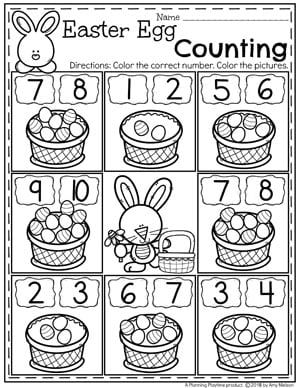 Easter Counting Worksheets for Preschool