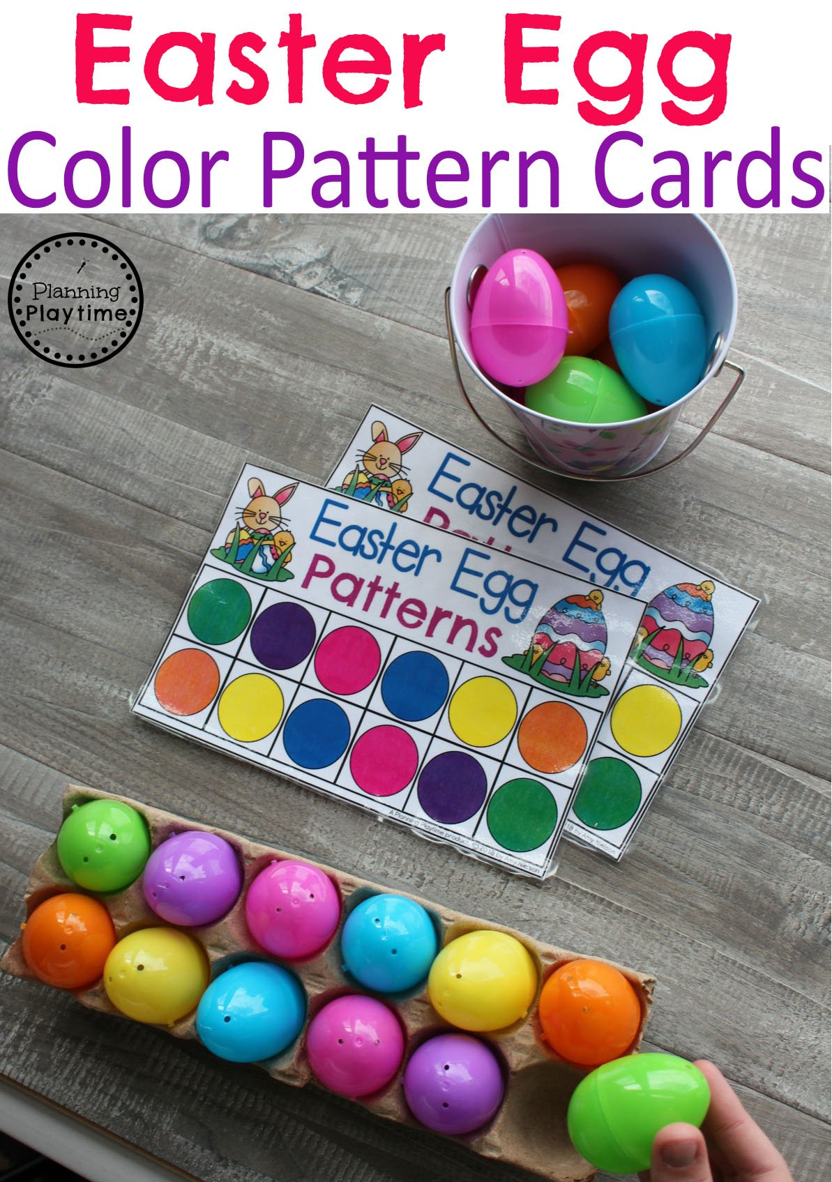 Easter Egg Color Pattern Cards for Preschool. #easter #preschool #easteractivities #easterpreschool #planningplaytime #patternsworksheets #preschoolpatterns