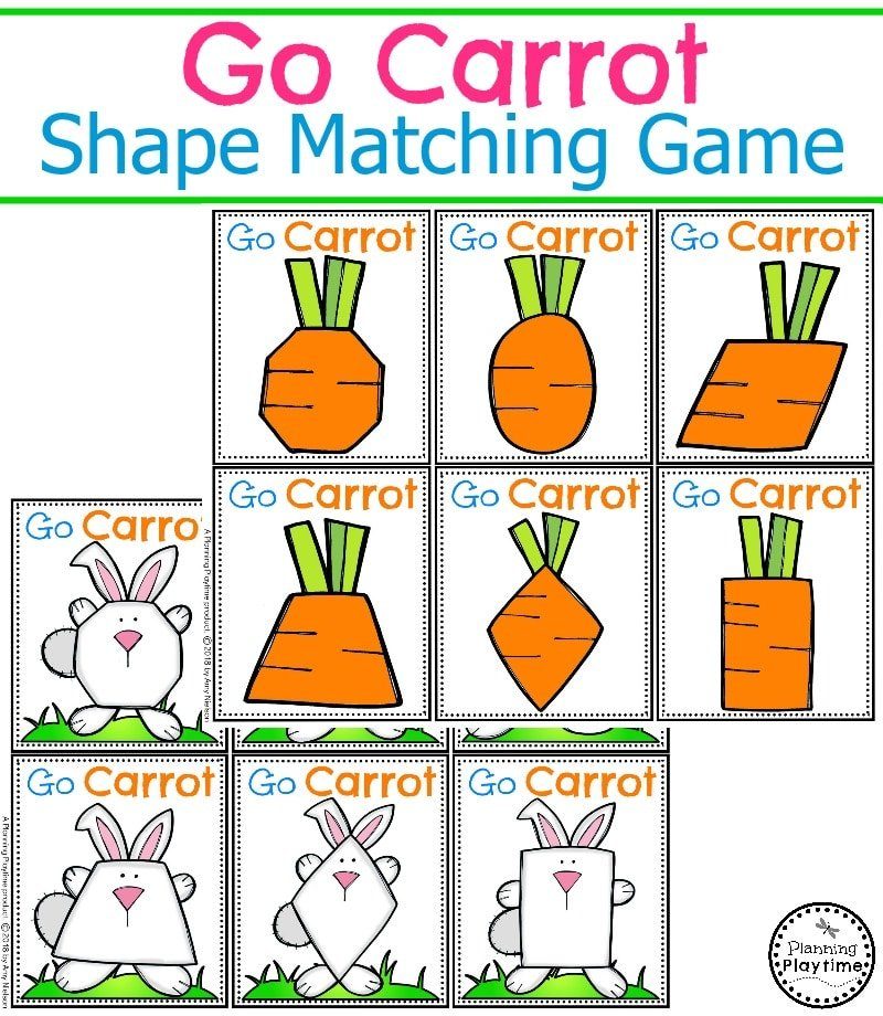 Easter Preschool Game for kids - Go Carrot Shapes Matching