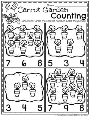 Easter Preschool Worksheets - Carrot Garden Counting #easter #preschool #easteractivities #easterpreschool #planningplaytime #easterworksheets #countingworksheets #mathworksheets