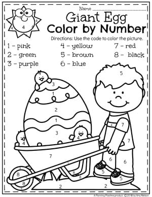 Easter Preschool Worksheets - Color by Number Easter Coloring Page #easter #preschool #easteractivities #easterpreschool #planningplaytime #easterworksheets #coloringpage #numberworksheets