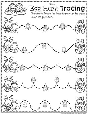 Easter Worksheets for Preschool - Egg Hunt Preschool Tracing Worksheet #easter #preschool #easteractivities #easterpreschool #planningplaytime #easterworksheets #tracingworksheets