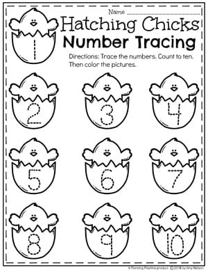 Easter preschool Worksheets - Hatching Chick Number Tracing #easter #preschool #easteractivities #easterpreschool #planningplaytime #easterworksheets #numberworksheets #tracignworksheets