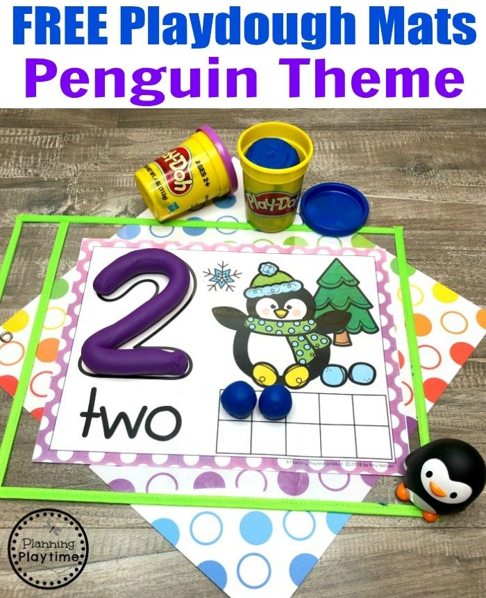 Free Playdough Mats - Penguin Theme Preschool Counting #playdoughmats #counting #preschoolmath #penguins