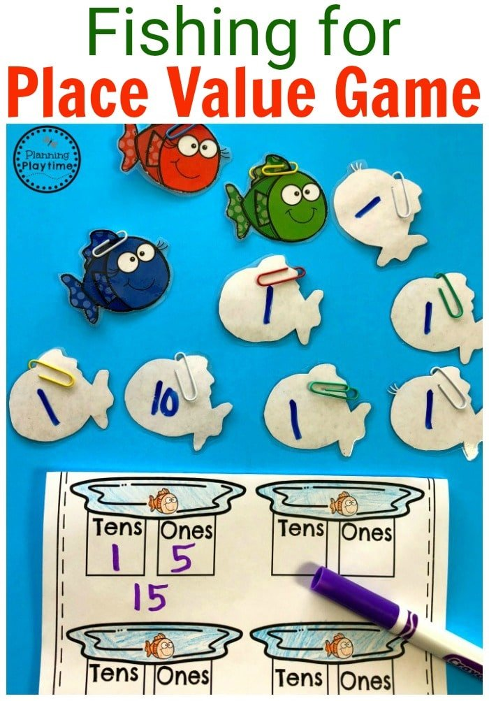 Fun Fishing for Place Value Kindergarten Math Game. #placevalue #kindergartenmath #mathgames #kindergartenworksheets #placevaluegames