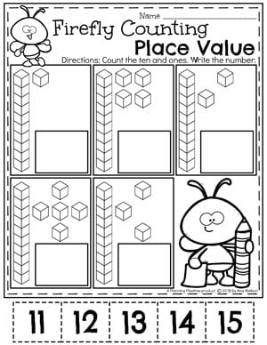 Fun Place Value Worksheets for Kids. 11-15 #placevalue #kindergartenmath #mathworksheets #kindergartenworksheets #placevalueworksheets