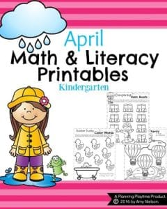 April Kindergarten Math Worksheets and Literacy