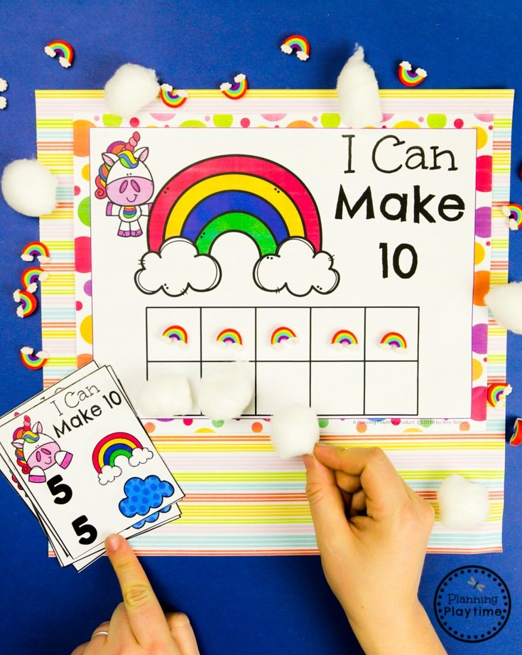 Making 10 Preschool Math Game #planningplaytime #preschoolactivities #rainbows #preschoolprintables #playbased #preschoolworksheets #mathactivities