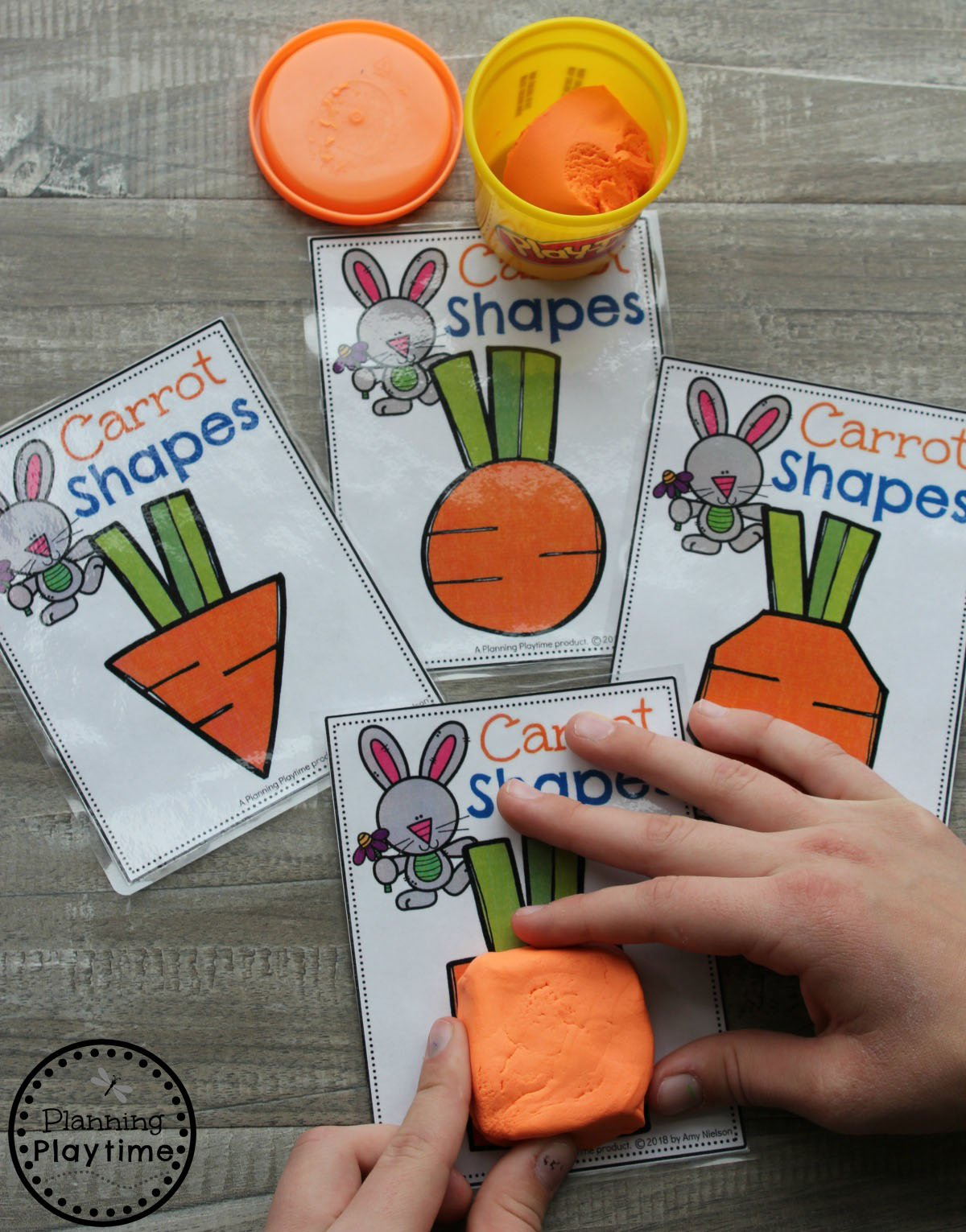 Playdough Carrots Make a Shape Easter Game for Preschool. #easter #preschool #easteractivities #easterpreschool #planningplaytime #shapesworksheets #preschoolmath