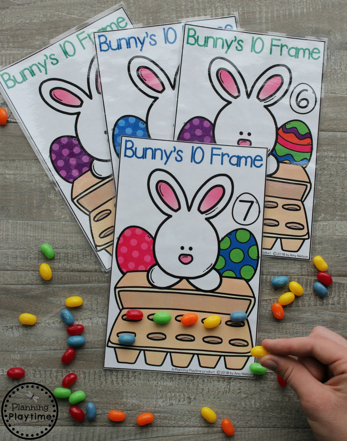 Preschool Counting Game for Easter. Easter Egg 10 Frames. #easter #preschool #easteractivities #easterpreschool #planningplaytime #preschoolmath